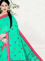 Poly Cotton Firozi Printed Printed Saree