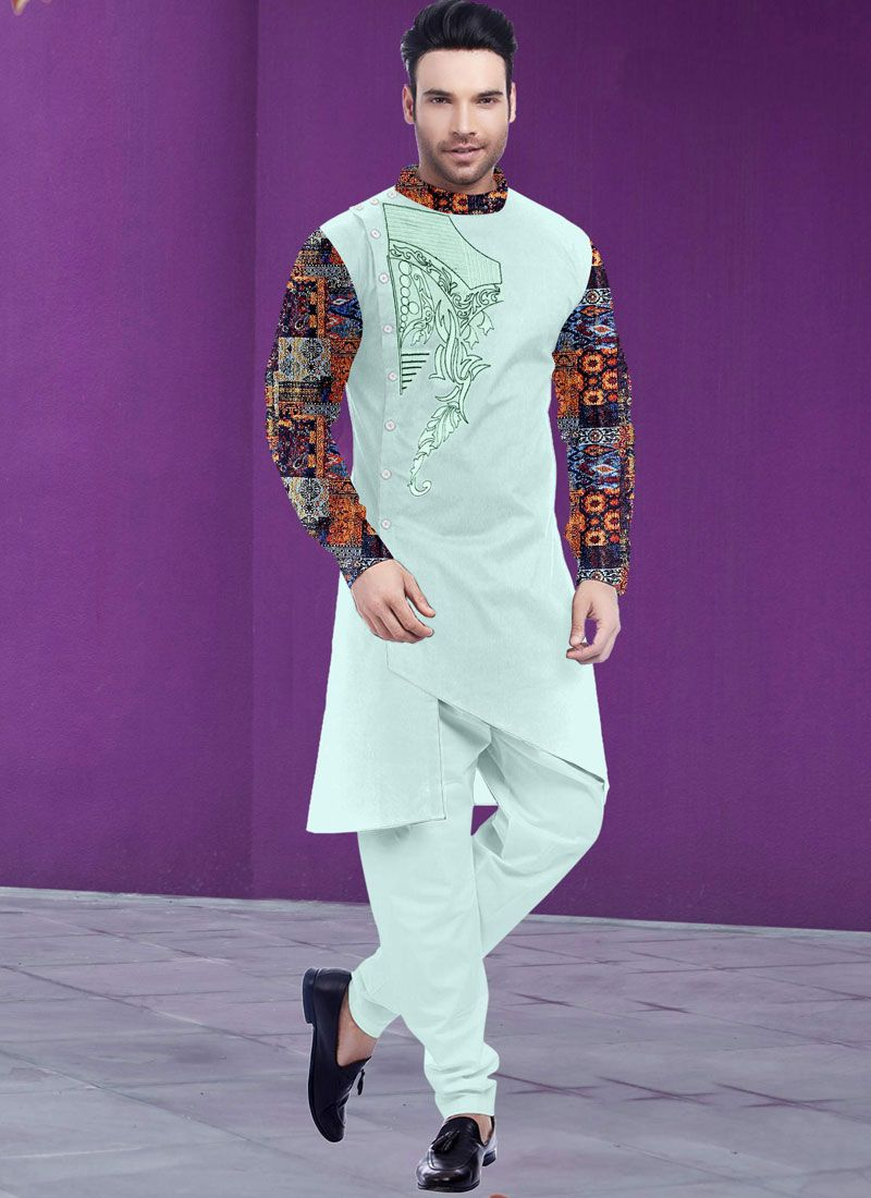 Poly Cotton Off White Embroidered Kurta Pyjama