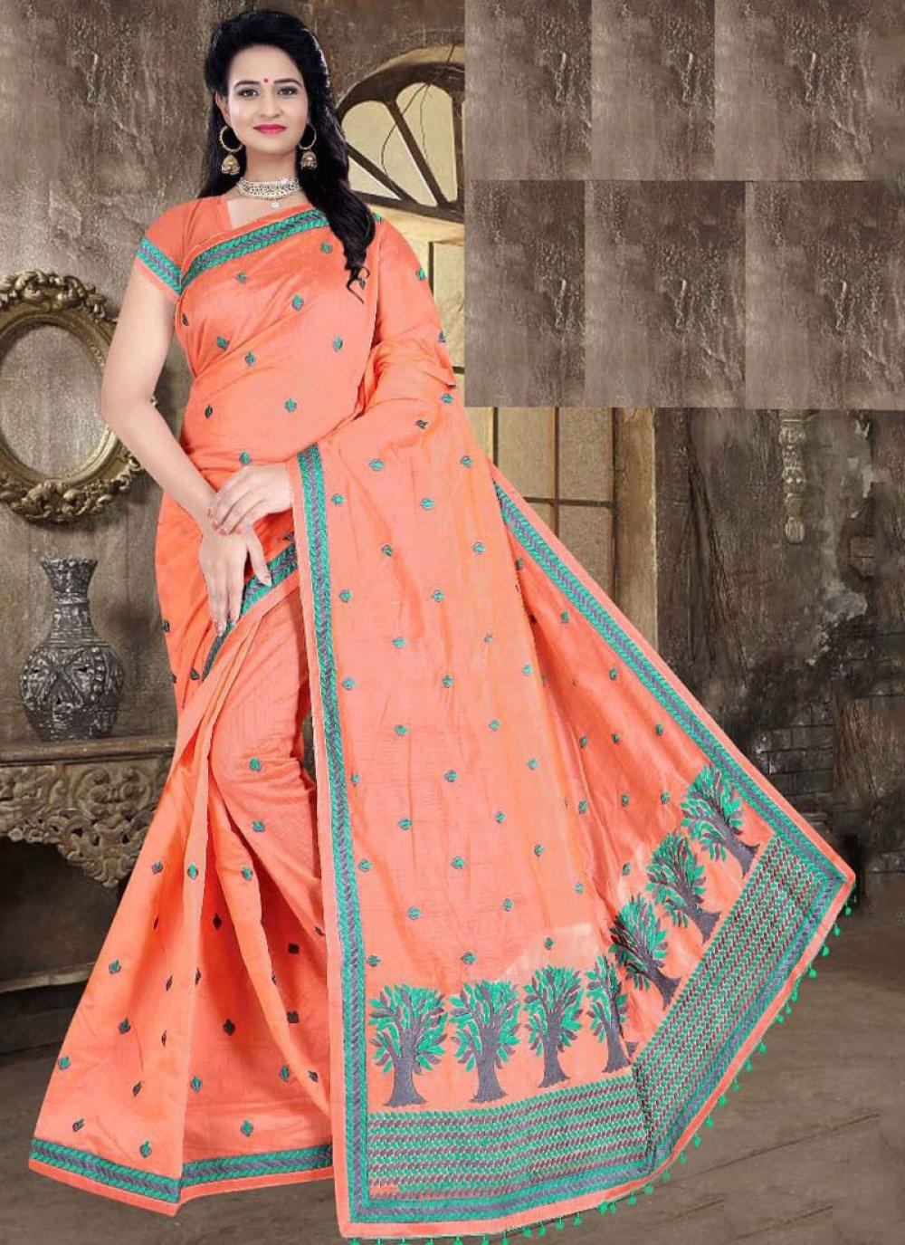 Poly Cotton Peach Printed Printed Saree