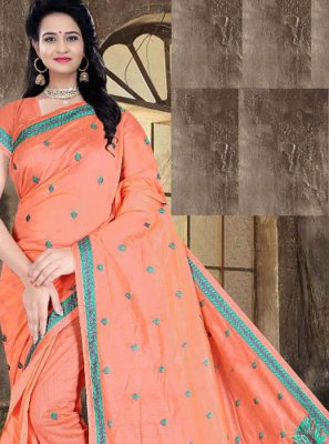 Poly Cotton Peach Printed Printed Saree