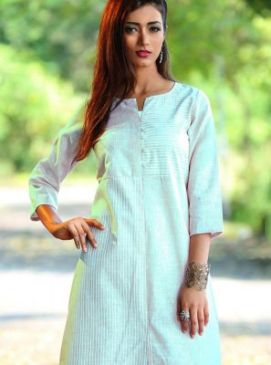 Poly Cotton Plain Casual Kurti in Aqua Blue