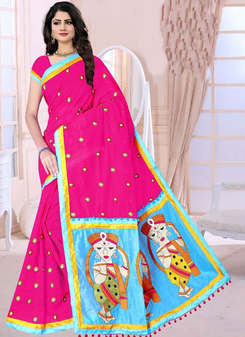 Poly Cotton Printed Hot Pink Printed Saree