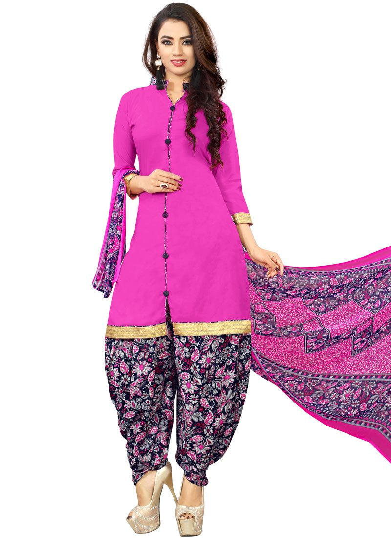 Poly Cotton Printed Hot Pink Punjabi Suit