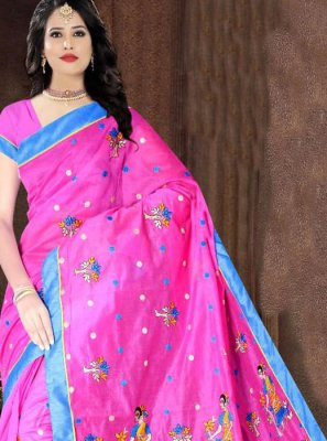 Poly Cotton Printed Printed Saree in Pink