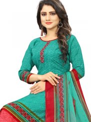 Poly Cotton Printed Punjabi Suit in Sea Green