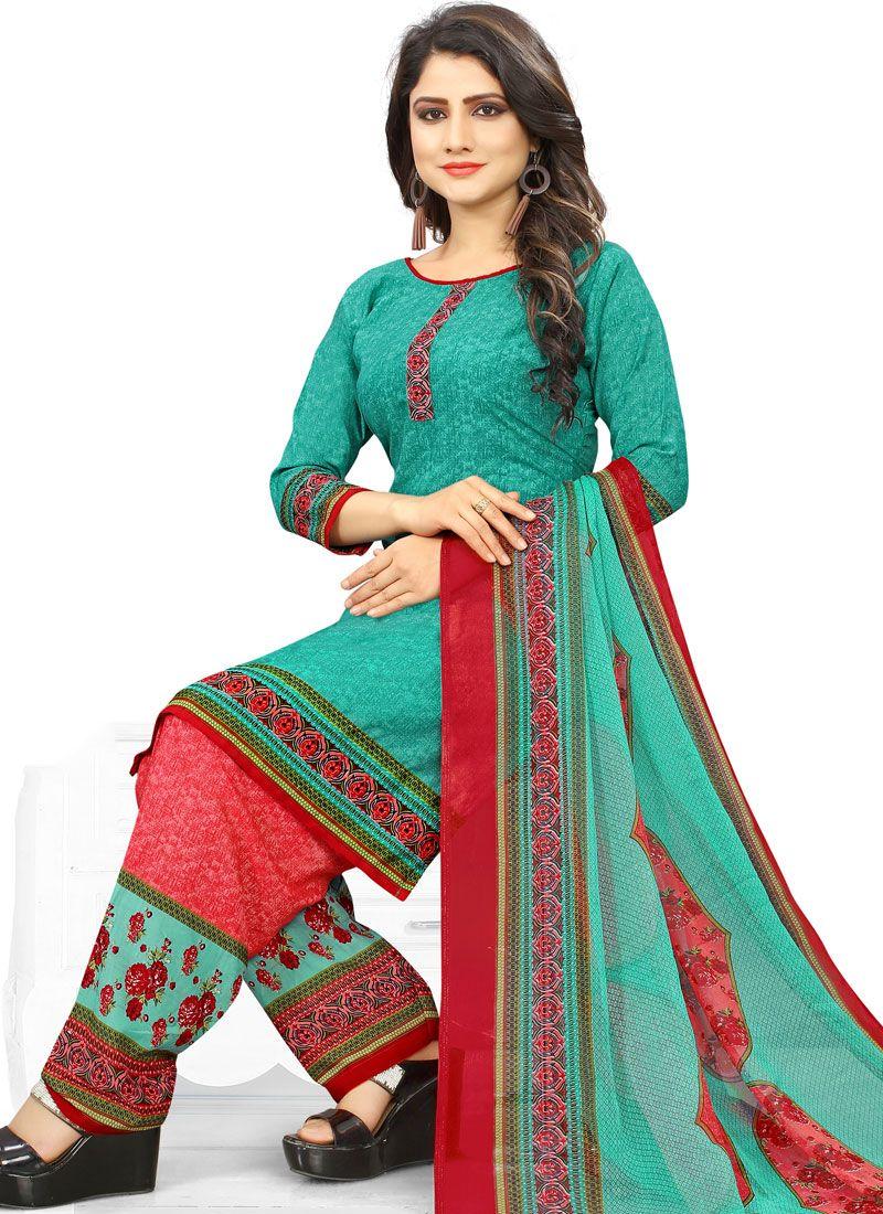 Poly Cotton Printed Punjabi Suit in Sea Green