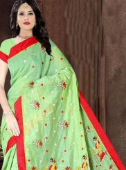 Poly Cotton Printed Saree in Green