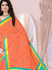Poly Cotton Printed Saree in Orange