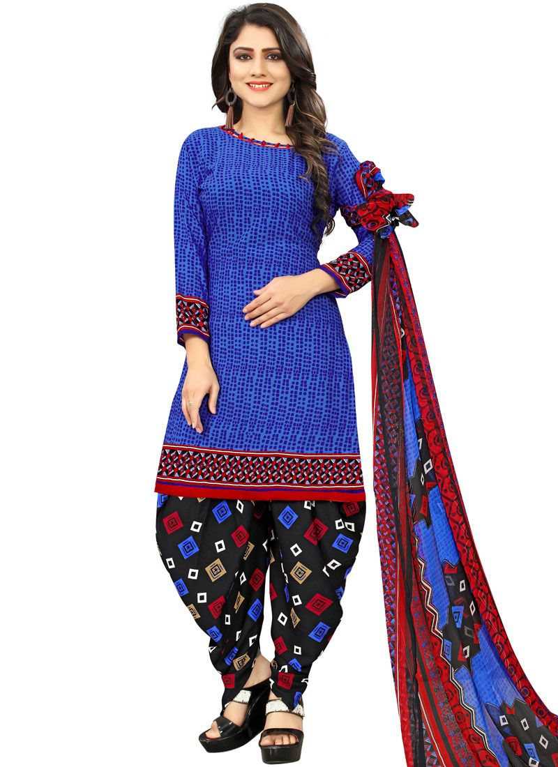 Poly Cotton Punjabi Suit in Blue