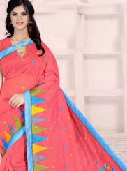 Poly Cotton Red Printed Printed Saree