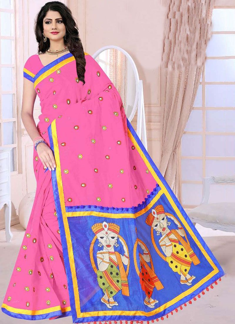 Poly Cotton Rose Pink Printed Saree