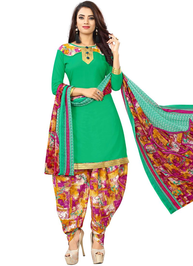 Poly Cotton Sea Green Punjabi Suit