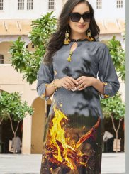 Poly Rayon Abstract Print Multi Colour Casual Kurti