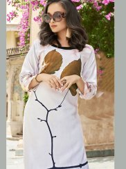 Poly Rayon Casual Kurti in White