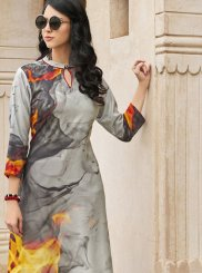 Poly Rayon Multi Colour Abstract Print Casual Kurti
