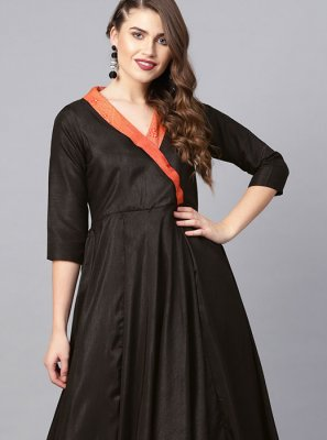 Poly Silk Black Party Wear Kurti
