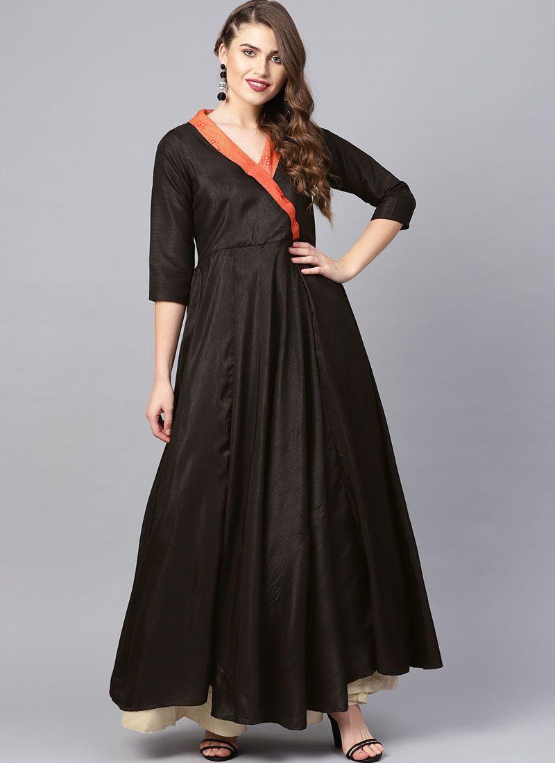 Poly Silk Black Party Wear Kurti