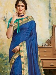 Poly Silk Blue Classic Saree