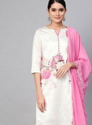Poly Silk Cream Print Readymade Suit