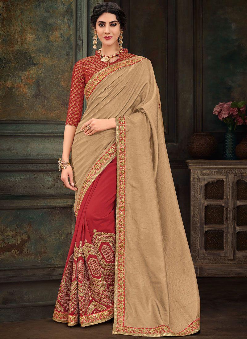 Poly Silk Designer Half N Half Saree