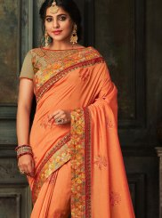 Poly Silk Embroidered Designer Traditional Saree in Orange