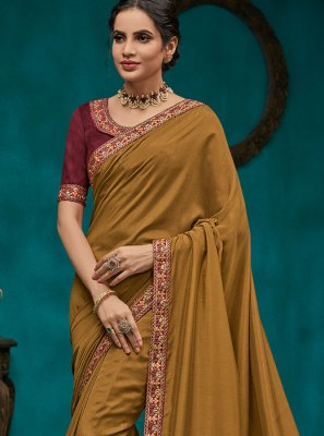 Poly Silk Embroidered Green Traditional Designer Saree