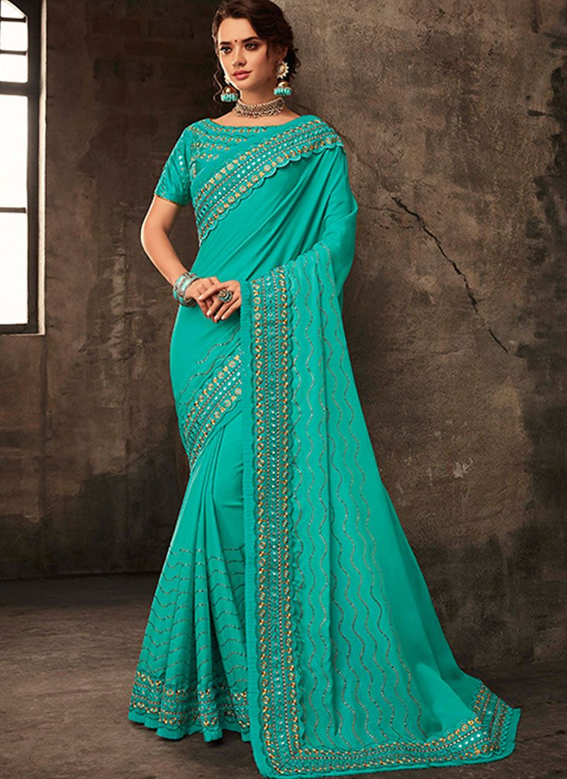 Poly Silk Embroidered Silk Saree in Turquoise