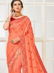Poly Silk Embroidered Traditional Designer Saree in Peach