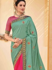 Poly Silk Embroidered Traditional Saree in Sea Green