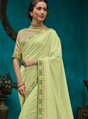 Poly Silk Green Embroidered Traditional Designer Saree
