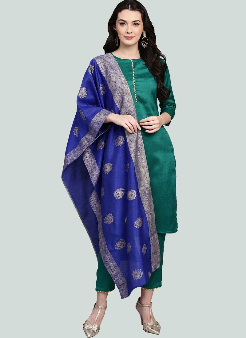 Poly Silk Green Fancy Readymade Suit