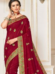 Poly Silk Maroon Traditional Designer Saree