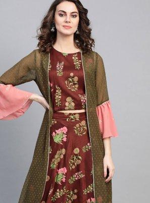 Poly Silk Mukesh Multi Colour Printed Saree