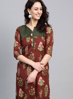 Poly Silk Multi Colour Party Wear Kurti
