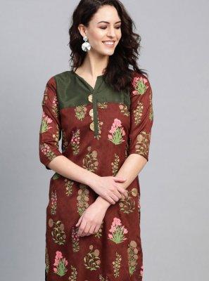 Poly Silk Multi Colour Party Wear Kurti