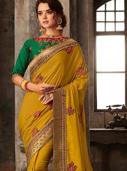 Poly Silk Mustard Embroidered Silk Saree