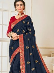 Poly Silk Navy Blue Embroidered Designer Traditional Saree