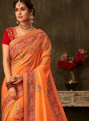 Poly Silk Orange Designer Traditional Saree