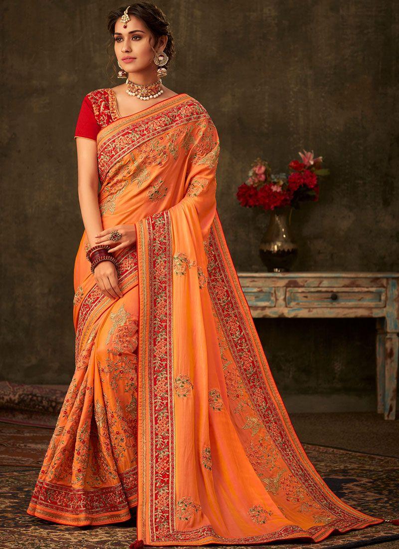 Poly Silk Orange Designer Traditional Saree