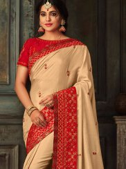 Poly Silk Patch Border Beige Traditional Designer Saree