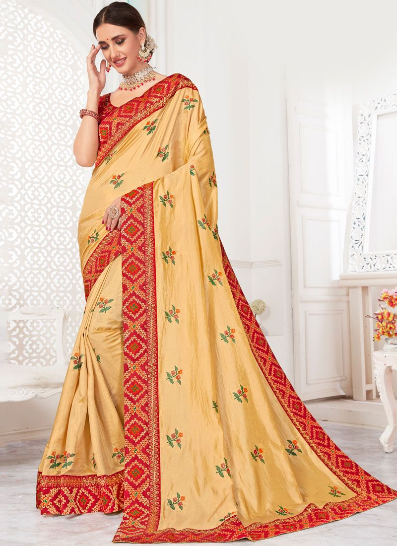 Poly Silk Patch Border Gold Traditional Saree