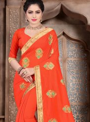 Poly Silk Patch Border Orange Traditional Designer Saree