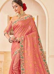 Poly Silk Patch Border Pink Designer Traditional Saree