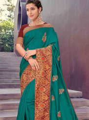 Poly Silk Patch Border Sea Green Designer Traditional Saree