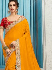Poly Silk Patch Border Traditional Designer Saree in Yellow