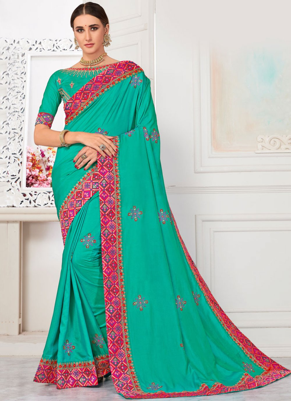 Poly Silk Patch Border Trendy Saree in Sea Green
