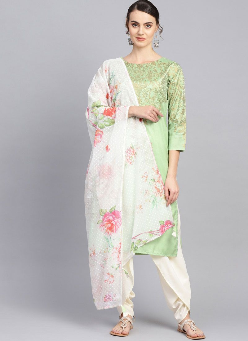 Poly Silk Print Green Readymade Suit