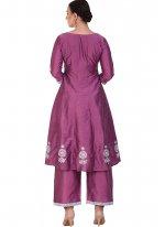 Poly Silk Purple Resham Designer Suit