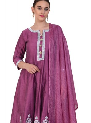 Poly Silk Purple Resham Designer Suit