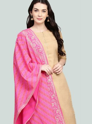 Poly Silk Readymade Suit in Beige